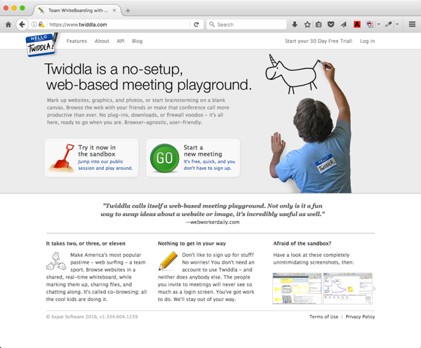 Twiddla home page