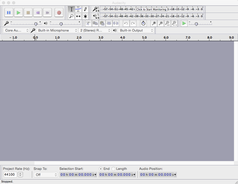 Audacity for Mac Interface