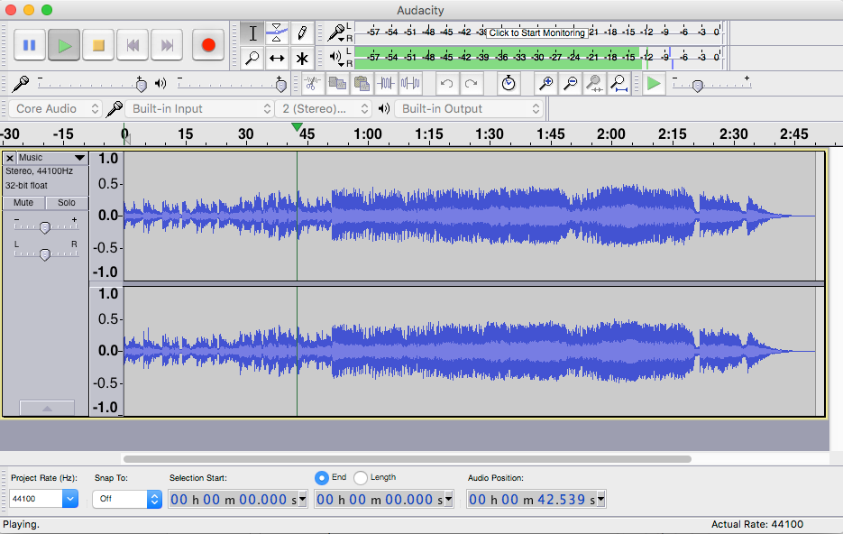 Audacity interface showing recording waveform and levels