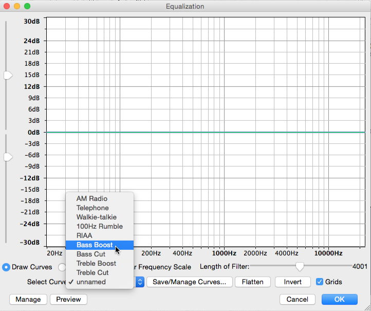 Audacity Equalization interface with Select Curve menu opened