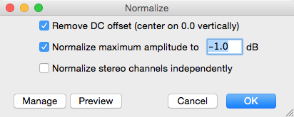 Normalize dialog box