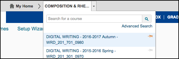 Pin Courses in D2L Select Course Menu