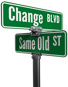 Street signs decide on same old way or change choose new path and direction