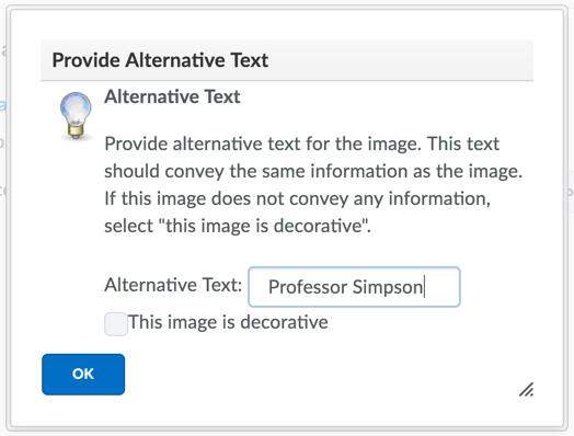 Provide alt text dialog window