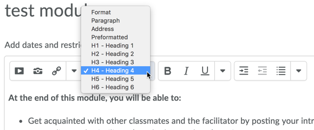 Text editor headings formatting dropdown menu