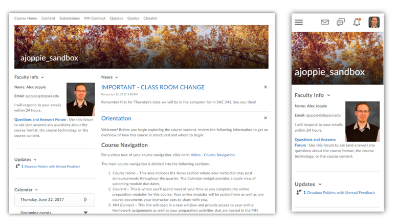D2L Web and Mobile Interfaces