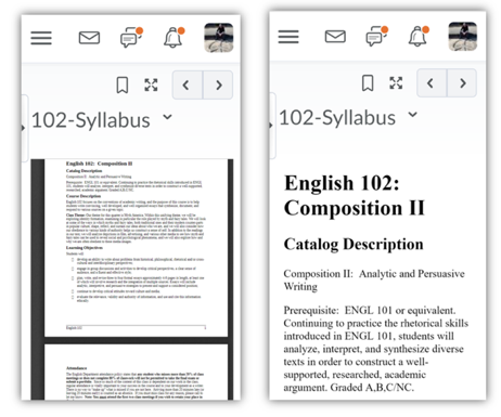 Side by side comparison of PDF and web page in D2L on mobile device