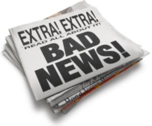 "Newspaper headline ""Bad News"""