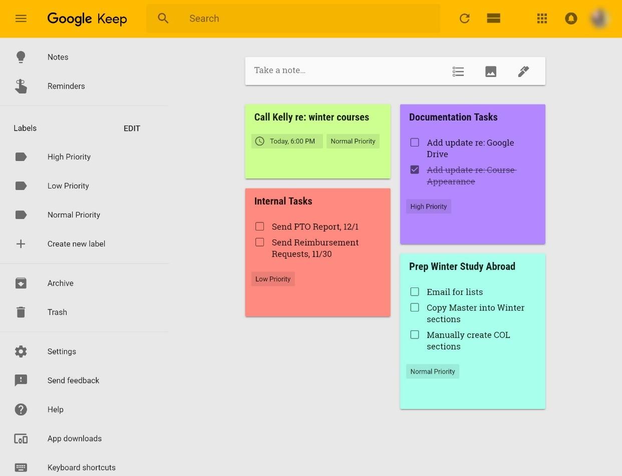 Google Keep interface