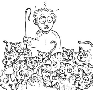Cartoon drawing of man attempting to herd cats